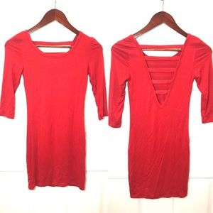 Tobi red ladder back bodycon dress, size xs
